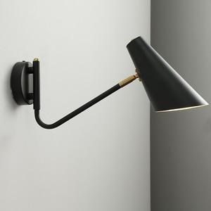 Image 1 - Nordic Classic adjustable modern industrial Long swing arm black wall lamp sconce vintage E27 lights for Bathroom bedroom foyer