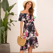 Summer Vestidos Casual Women Off Shoulder Floral Print Boho Dress Beach Ruffled Sundress Ladies Strapless Midi Dresses Female