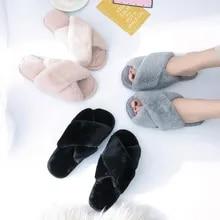 House Slippers Flats Warm-Shoes Faux-Fur Pink Black Cozy Home Winter Women Fashion Woman