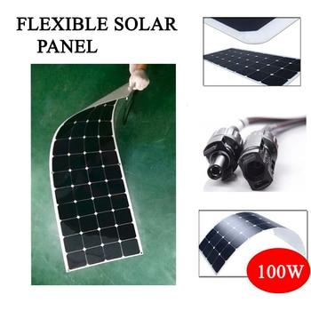 Hot Sale 100w 200w flexible solar panel 18V for 12V solar battery charger monocrystalline solar cell panel solar home system kit 1