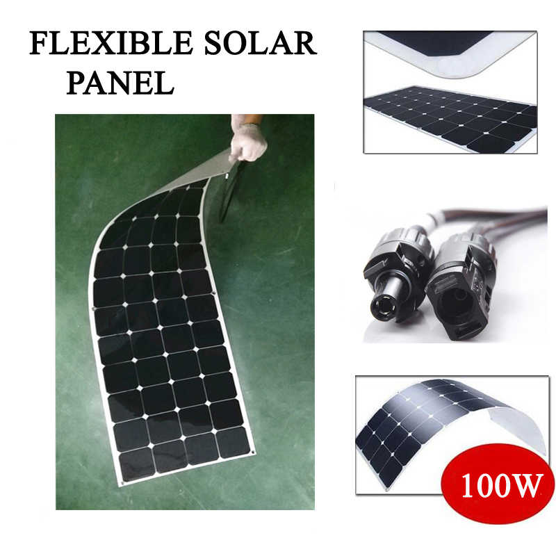 New100w 200 W Panel Surya Fleksibel Etfe atau PET18V untuk Pengisi Baterai 12V Monocrystalline Solar Cell Panel Home System kit
