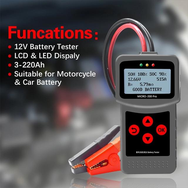 MICRO 200 PRO Car Battery Tester 12v 24v Multi Language Digital AGM EFB Gel Automotive Load Battery System Analyzer For Car Moto
