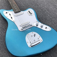 Free transportation of guitars, metallic blue electric guitars. Silver accessories, customizable,