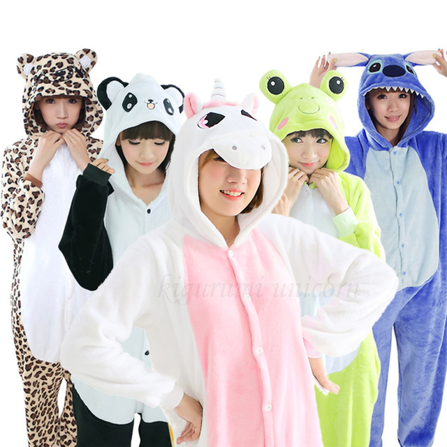 Women Kigurumi Unicorn Pajamas Kids Flannel Cute Animal Pajamas Kits Women Winter Unicornio Nightie Pyjamas Sleepwear Homewear