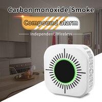 New 2 in 1 composite alarming detector CO carbon monoxide & smoke alarm Sensor household multifunctional fire Security detector|מזהי פחמן חד חמצני|   -