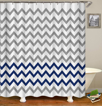 Waterproof Shower Curtains Geometric Stripes Bathroom Curtains With Hooks 3d Printing Decoration Large Size 240X180 Bath Screen image
