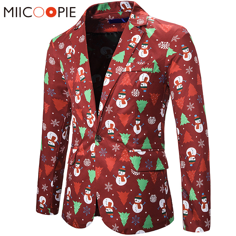 Mens Blazers Casual New Christmas Tree Snowman Print Casual Slim Fit Red Funny Blazzer Hombre For Party Mens Suit Jacket Blazers