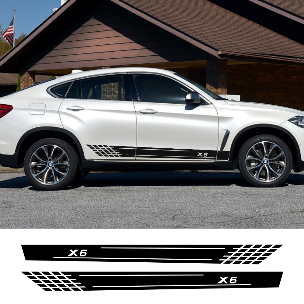 2pcs For BMW X6 F16 E71 Car Stickers Side Door Stripe Auto Waterproof Decoration Decal Vinyl Film Tuning Car Tuning Accessories