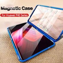עבור Huawei P40 לייט מקרה כפול צד מזג זכוכית מקרה עבור Huawei P30 לייט P30Pro נובה 7i 6 se מקרה כיסוי מגנטי Fundas
