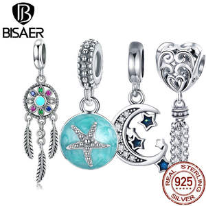 BISAER Pendants Charms Fit-Bracelet Starfish Jewelry-Making 925-Sterling-Silver Moon