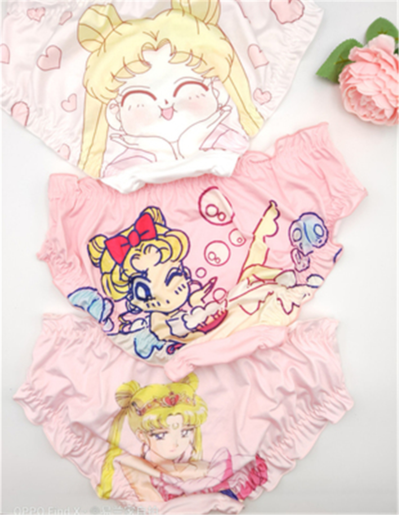 Sailor Moon Panties Schoolgirl Secondary Anime Shredded Milk Lovely Cartoon Printing Panties Underwear Adult Schoolgirl
