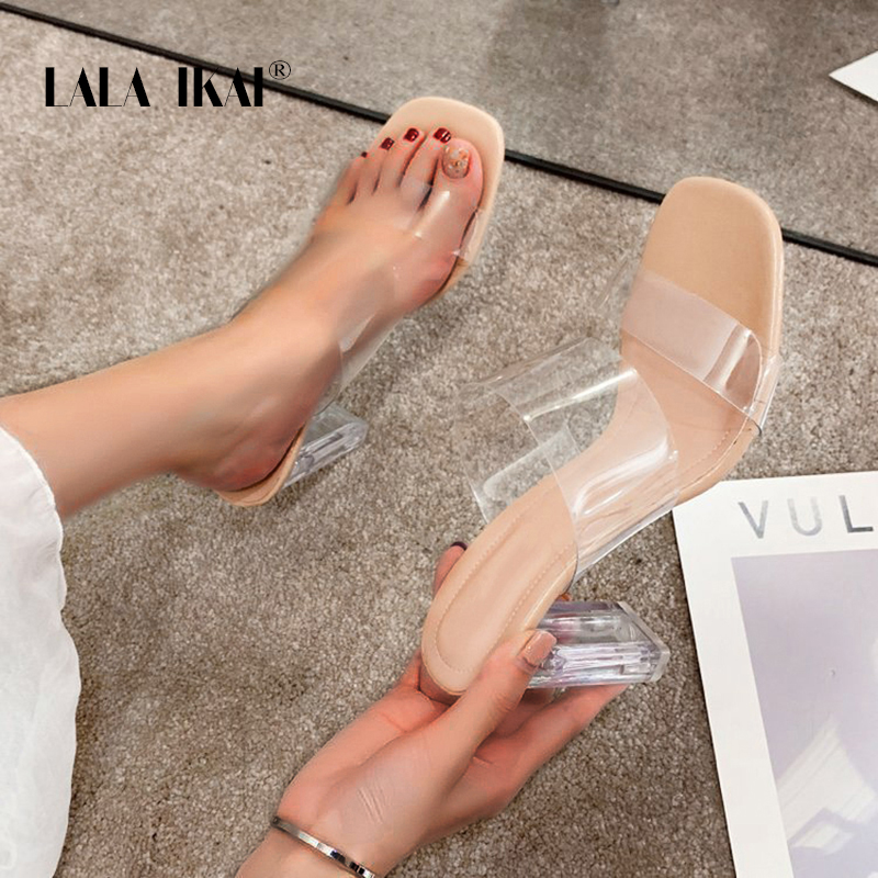 LALA IKAI Sandals Women 2020 New Summer Outdoor Slippers Wild Transparent PVC Fashion Thick Heel Ladies Slippers XWC6851 4|Slippers| |  - AliExpress