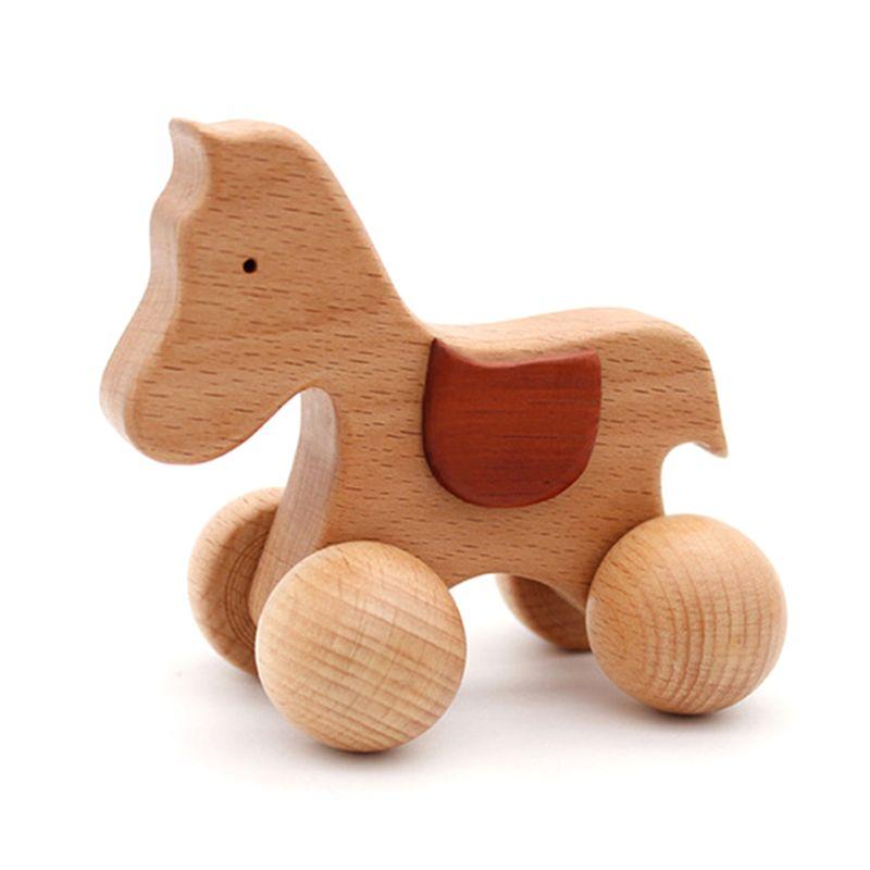 3 stücke Push scroll Holz Baby Pferd und Hund Spielzeug Auto Set für Kleinkinder 1 jahr alt - 3