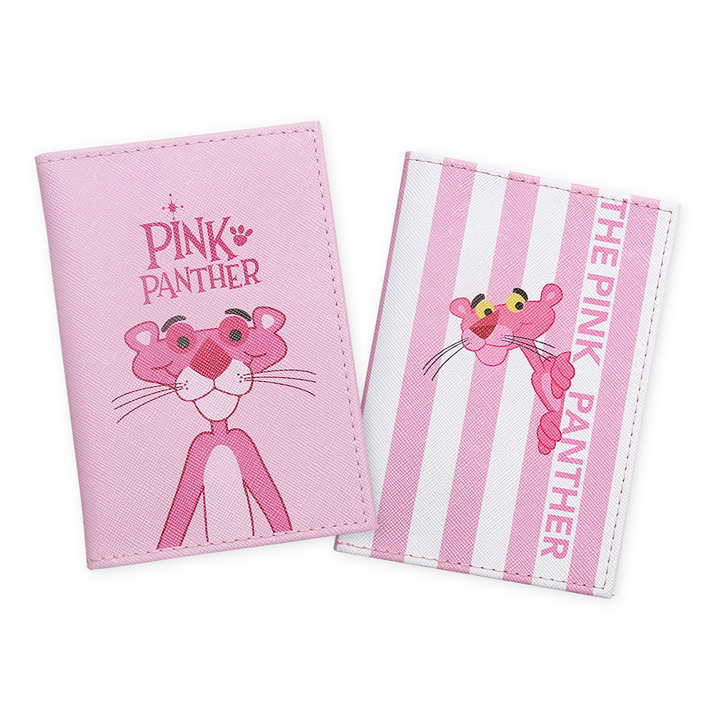 Cartoon Lovely Pink Panther Travel Passport Cover Women Bank Credit Card & ID Holders  Fashion Soft PU Leather Passport Wallet