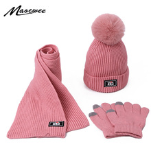 Комплект из двух предметов, шарф и шапка, Детские шапочки с помпоном для маленьких девочек, вязаные шапки Skullies, Детские Зимние теплые шерстяные вязаные шапочки унисекс