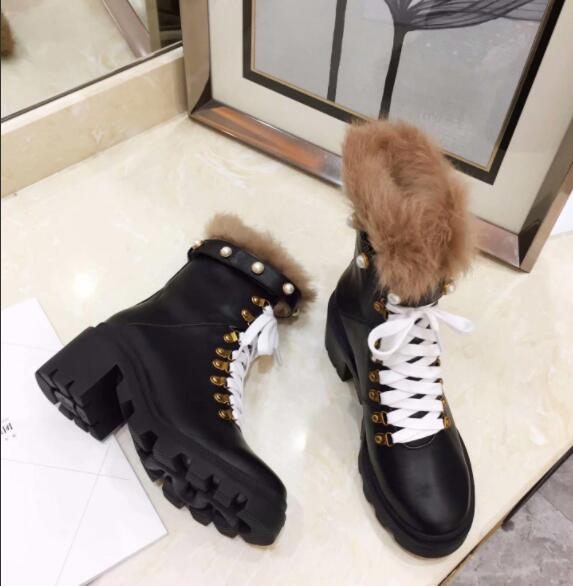 Winter Boots Women Fur Botines Mujer Lace up Shoes Women