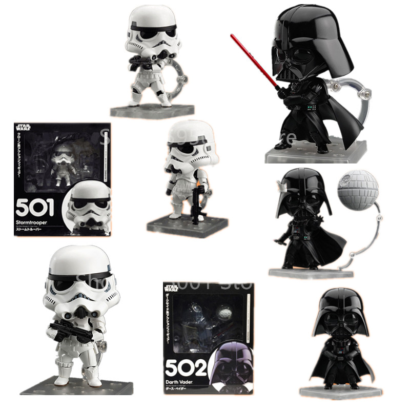 10cm Q Version Star Wars 7 501# Imperial Stormtrooper 502# Darth Vader Action Figure PVC Toy Doll Cute Gift For Christmas