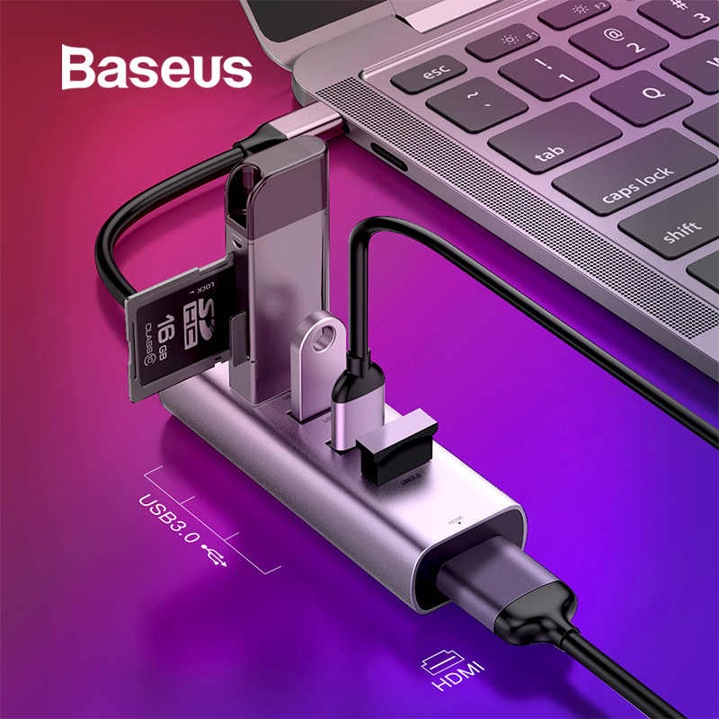 Baseus multi USB C HUB do 3.0 USB Splitter HDMI dla MacBook pro typ C HUB RJ45 USB Adapter do Huawei Mate 10 20 Samsung S9 S10