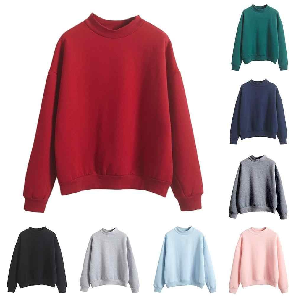 סתיו החורף מקרית נשים מוצק צבע צוות צוואר ארוך שרוול סווטשירט בסוודרים נשים נים חולצות נקבה מקרית
