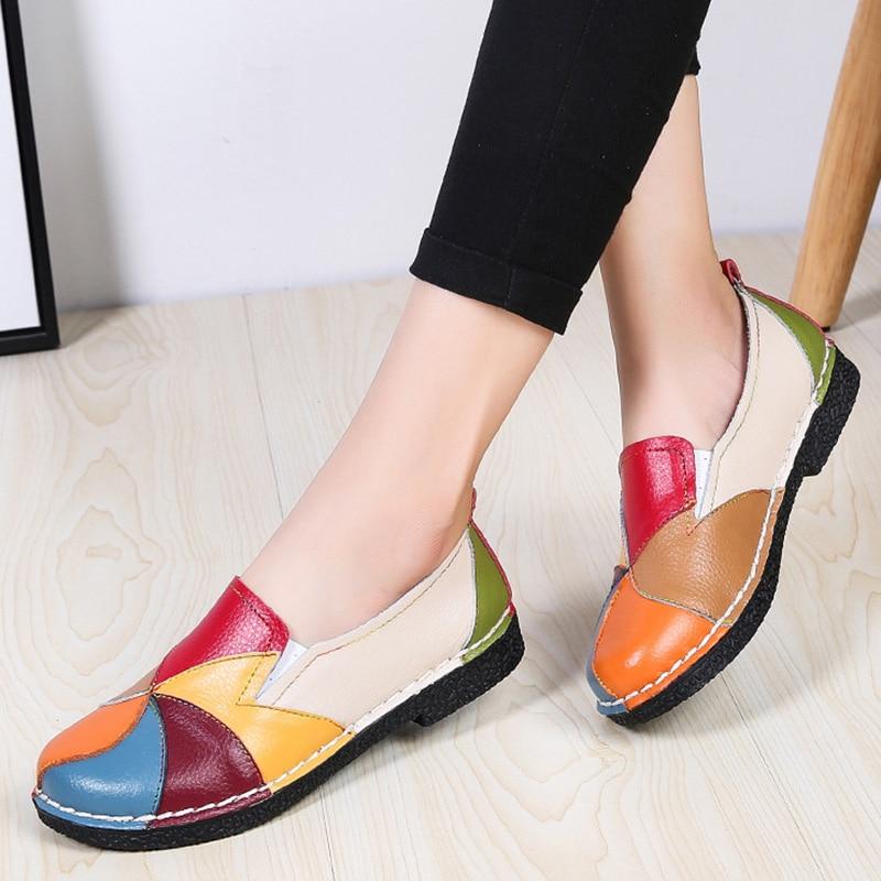 Women Flats Shoes Women Genuine Leather Women Loafers Comfort Women Shoes Soft Bottom Ladies Shoes Plus Size 42 Mocassin Femme