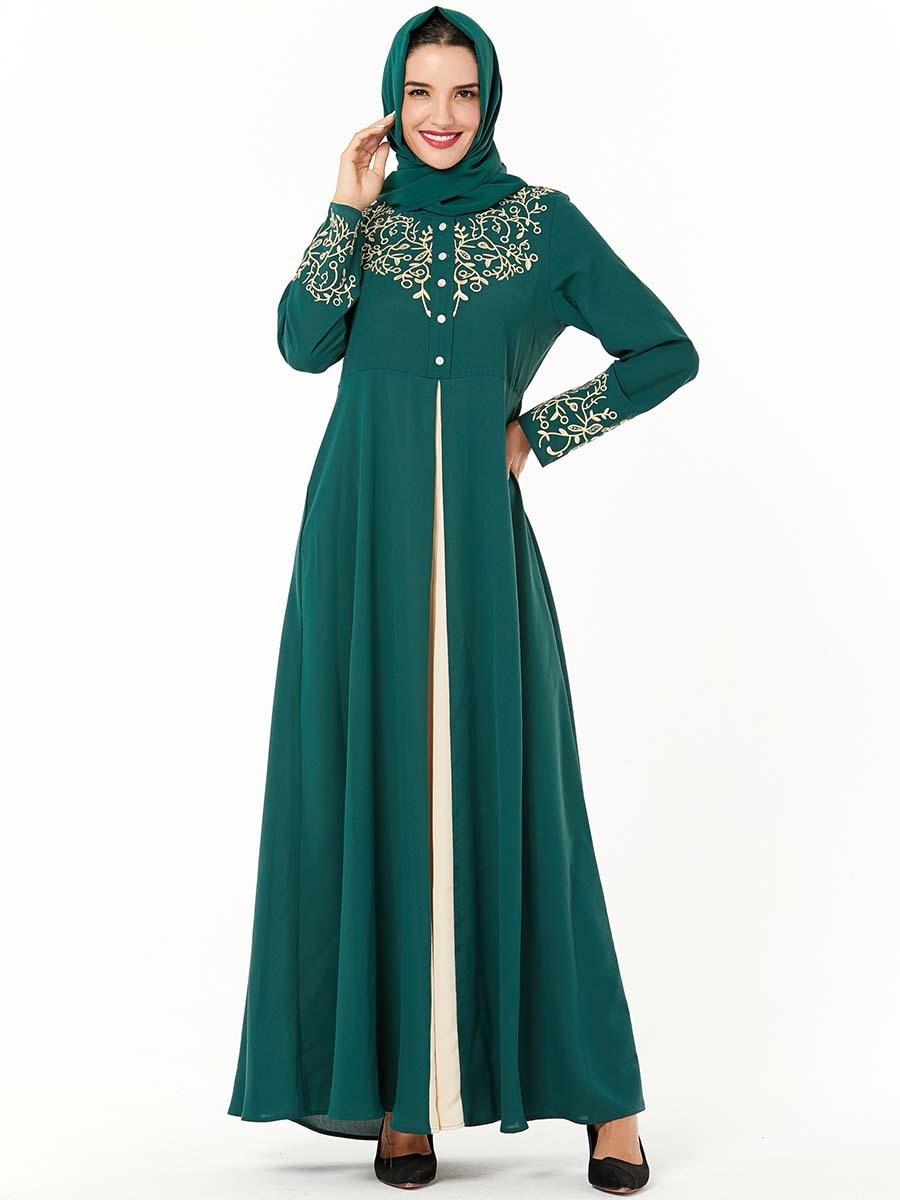 Big Swing A-line Hijab Dress Women Splice Embroidery Cotton Soft Abaya Turkey Maxi Dresses Dubai Middle East Islamic Clothing
