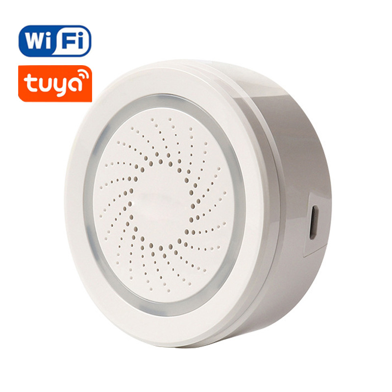 Wireless WiFi Siren Alarm Sensor For Home Smart Device Support Battery-Powered Can Be Charged With USB Cable TUYA Smart Life