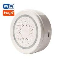 Sensor de alarma de sirena WiFi inalámbrico para el hogar, dispositivo inteligente compatible con batería, se puede cargar con Cable USB, TUYA Smart Life