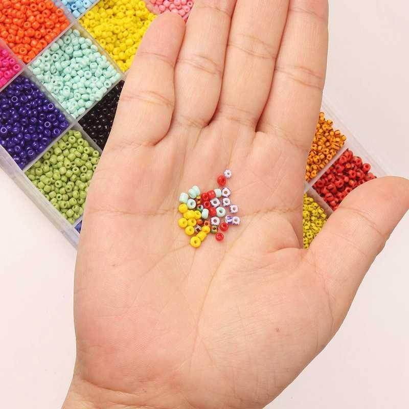 Mini Colores Cuentas Redondo Cuentas Semillas Artesanales Cristal Cuentas Semillas Vidrio Cuentas Peque/ñas Hacer Joyas Mini Cuentas Abalorios Cristal Con Caja 24 Colores 2mm Para Hacer Joyas Bricolaje