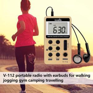 Image 4 - Retekess V112 Mini cepli radyo FM AM 2 bant radyo alıcısı dijital Tuning şarj edilebilir pil ve kulaklık F9202