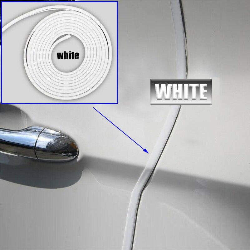 1* Car Auto White Rubber Door Edge Crash Protective Pad Anti-Rub Strips Parts