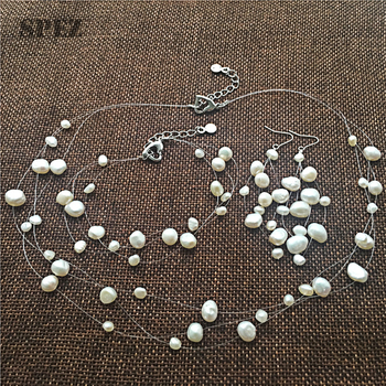 Natural Baroque Pearl Jewelry Sets 100%Freshwater Pearls Necklace  long Tassels Drop Earrings Bracelet for Women Gift  DIY SPEZ
