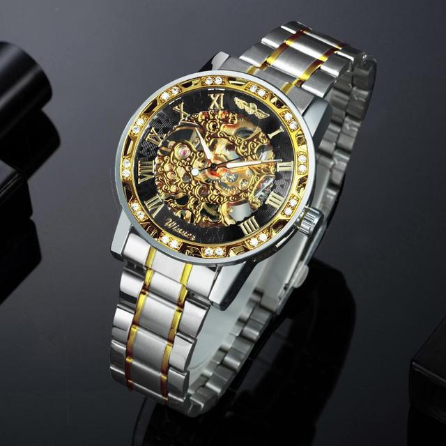 الفائز الهيكل العظمي الميكانيكية الرجال الذهبي ساعة فضية العلامة التجارية الفاخرة مثلج خارج كريستال موضة الشرير الصلب ساعة اليد دروبشيبينغ 3