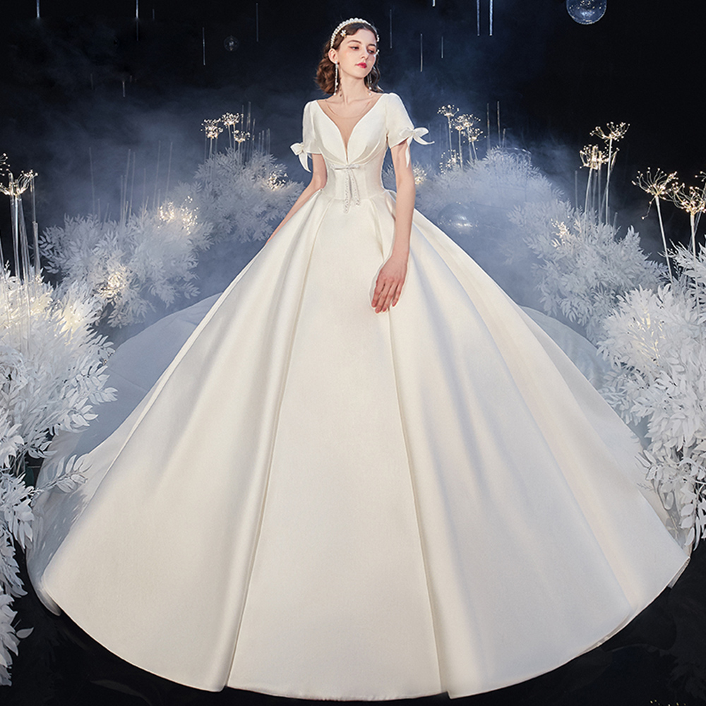 Best France Satin Ball Gown Wedding Dresses Aliexpress Login Vestido De Casamento Pearls Zipper Up Bow Short Sleeve Simple Gowns