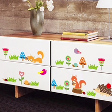 Forest Animal Wall Sticker For Kids Rooms Squirrel Deer Flower Birds Tree Art Decal Home Decor Living Room Bedroom Mural
