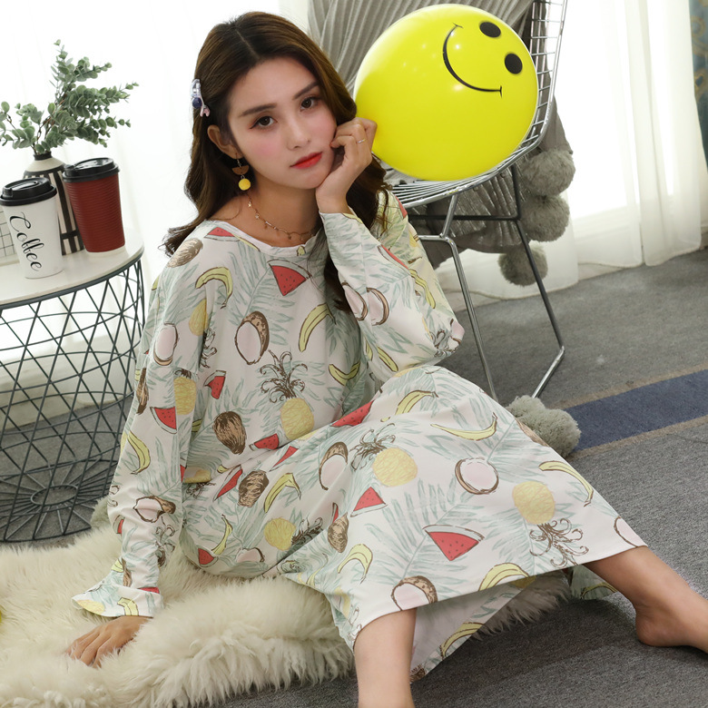 Nightgown Women's Long Sleeve Autumn & Winter White Large Fruit M -Xxl Qmilch Double-Sided Thick