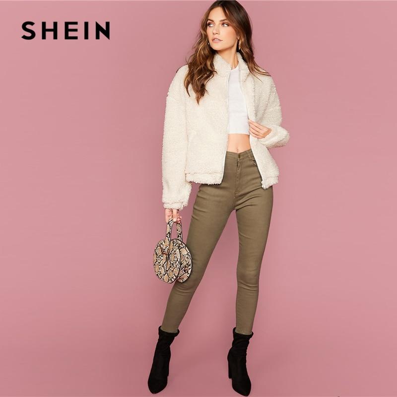 SHEIN White Funnel Neck Drop Shoulder Teddy Jacket Women Coats Winter Streetwear Long Sleeve Zipper Front Ladies Casual Outwear 8