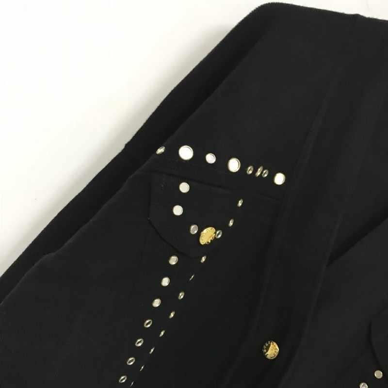 2020 nova mulher solta longo cardigan v pescoço botão rebites de metal malha camisola jaqueta alta rua hip hop lã outwear casaco