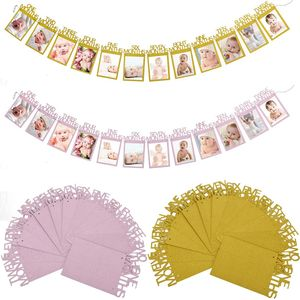Image 5 - 12 Months Photo Frame Banner First Happy Birthday Decorations 1st Baby Boy Girl My 1 One Year Party Supplies Gold Pink Silver