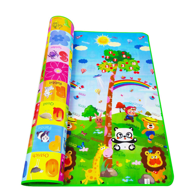 2*1.8M Baby Crawling Play Mat Climb Pad Double-Side Fruit Letters and Dinosaur Developing Mat for Children Game Pad