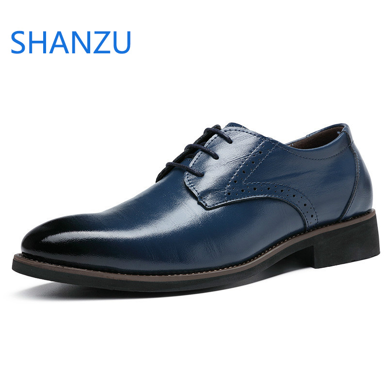 SHANZU Men Dress Shoes Simple Style Quality Men Oxford Shoes Lace-up Brand Men Formal Shoes Men Leather Wedding Shoes 637