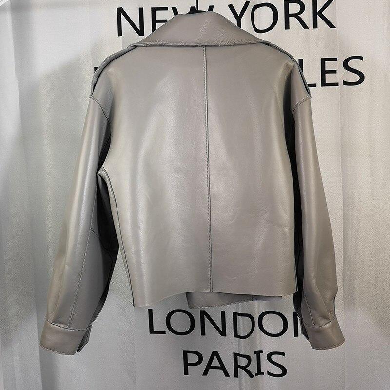 Women's Leather Sheepskin Coat Short Brand Motorcycle Leather Coat