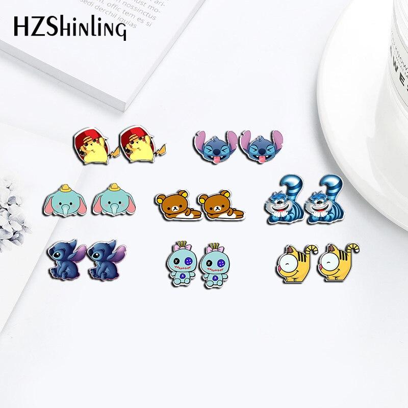2019 New Fashion Earrings Stitch Cartoon Winter Bear Acrylic Earrings Shrinky Dinks Earrings Resin Earrings Jewelry Epoxy