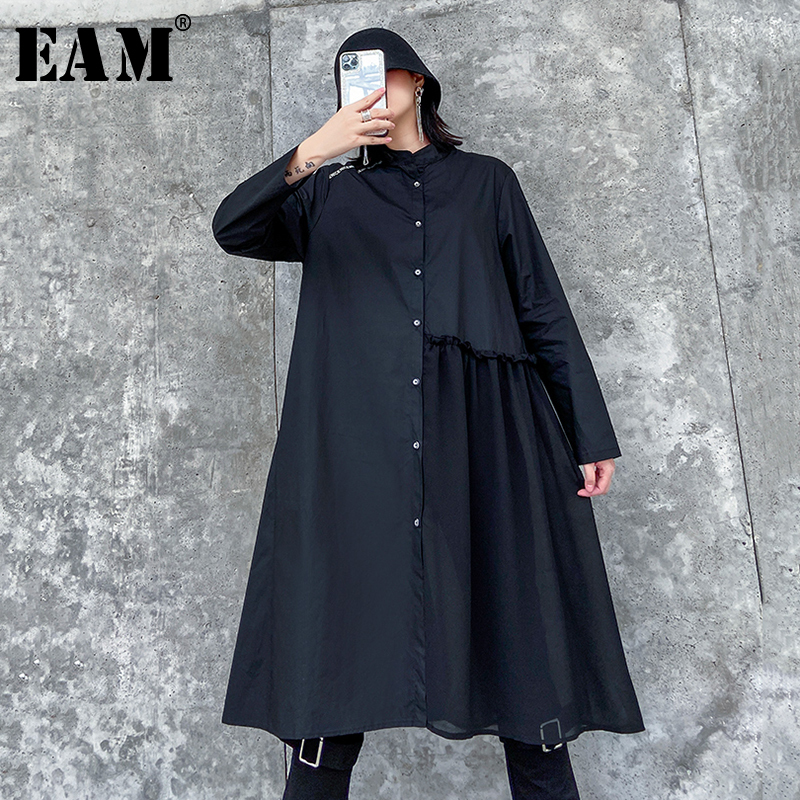 [EAM] Women Black Pleated Split Joint Shirt Dress New Stand Collar Long Sleeve Loose Fit Fashion Tide Spring Autumn 2020 1R781