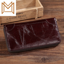Oil Wax Genuine Leather Man Wallet Long Wallet Business Affairs Head Layer Cowhide Wallet Zipper Hand Package