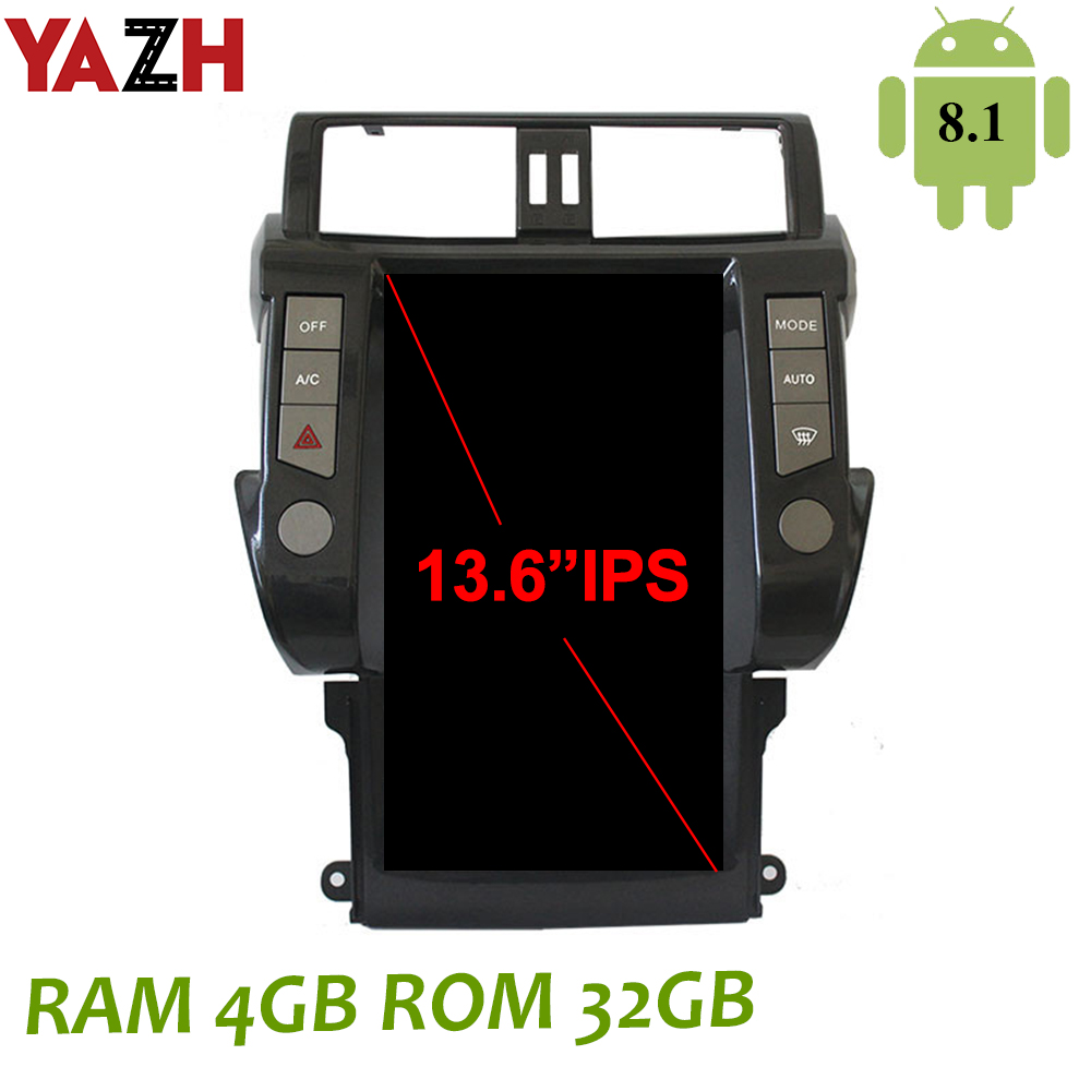 YAZH 4GB Android Car Unit Player For <font><b>TOYOTA</b></font> Land Cruiser Prado <font><b>150</b></font> 2014 2015 2016 2017 <font><b>2018</b></font> With13.6