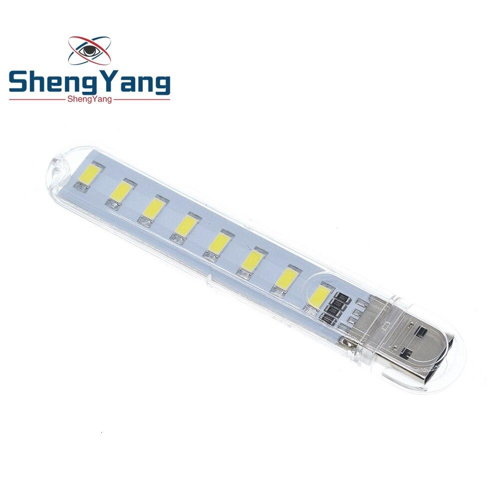 Shengyang mini protable usb luz da noite 8leds 5730 smd livro luzes 5v para computador portátil de energia móvel lâmpada acampamento