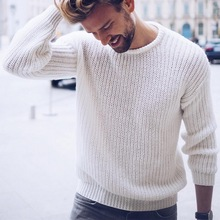 цены на WENYUJH 2019 New Arrival Autumn Loose Cotton Sweater Men Pullover Solid Color Casual Jumper Male Knitted Korean Style Tops S-XL  в интернет-магазинах