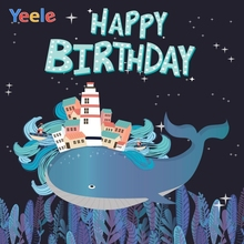 Yeele Birthday Party Photocall Whale Building Glitter Photography Backdrop Personalized Photographic Background For Photo Studio