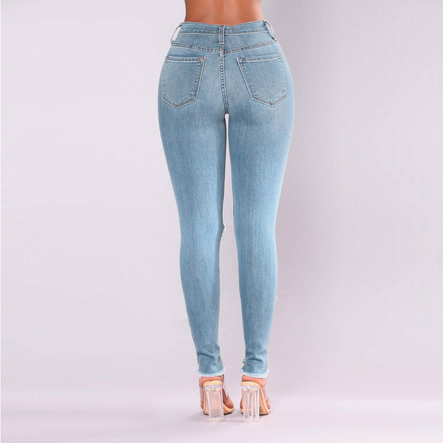 2021 Newest Hot Womens Stretch Skinny Ripped Hole Washed Denim Jeans Female Slim Jeggings High Waist Pencil Pants Trousers #R25 4