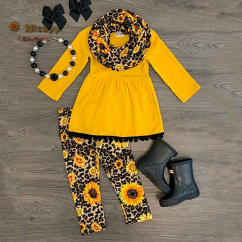 2 Pcs Childern Toddler Kids Baby Girl Outfits Clothes O-Neck Yellow Long Sleeve Autumn T-shirt Tops Leopard Leggings Pants 2020 toddler girl outfits 2018 striped patchwork t shirt tops denim pants clothes kids 2 pcs autumn suits children outfits clothing